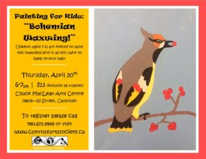 Painting for Kids: Bohemian Waxwing @ Chuck MacLean Arts Centre | Bellevue | Iowa | United States