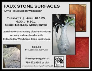 Faux Stone Surfaces: Art & Home Decor Workshop @ Chuck MacLean Arts Centre | Camrose | Alberta | Canada