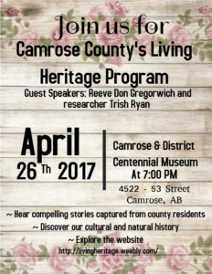 Camrose County's Living Heritage Program @ Camrose & District Centennial Museum | Camrose | Alberta | Canada