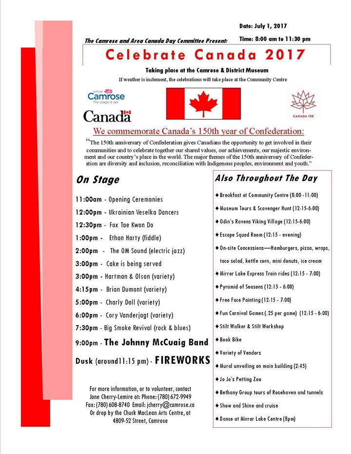 Canada Day Celebrations @ Camrose & District Centennial Museum